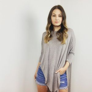 Anthropologie High-Low Crewneck Top